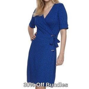 Grommet Faux Wrap Dress, Blue Print